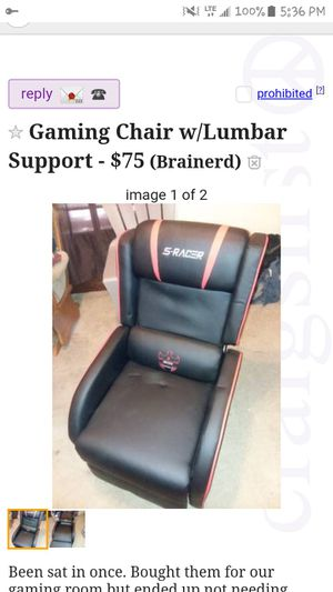 S RACER Gaming Recliner with built in lumbar support. Just took out of box and put together. Still NEW condition. Have in red and blue for Sale in Brainerd, MN