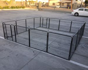 New in box 32 inch tall x 32 inches wide each panel x 16 panels exercise playpen fence safety gate dog cage crate kennel expandable fence perrera cer for Sale in La Mirada, CA
