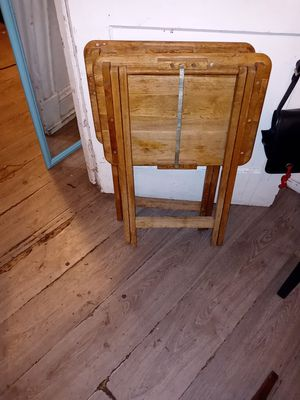 2 wood Tv dinner stands 5bucks pair for Sale in Morrisville, PA