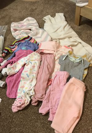 Newborn clothes, swaddles, burp cloth, hygiene goodies for Sale in Silver Spring, MD