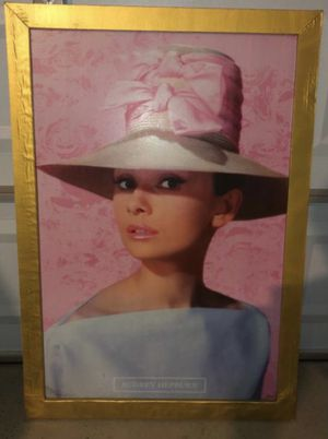Audrey Hepburn Framework Picture Art Gold Pink 27x50 Collector Collection for Sale in Las Vegas, NV