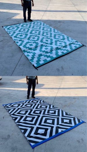 New $25 each 6x9 feet large outdoor park beach camping patio mat water resistant reversible outdoor carpet black or green color for Sale in West Covina, CA