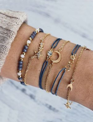Gorgeous NEW 6 piece moon, star and love detail bracelet set for Sale in San Diego, CA