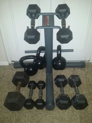 Weider weight stand for dumbbells/weights/kettle bells. Dumbbells 1x30lb, 2x15lb, 2x10lb, 2x5lb, Kettle bells 15lb, 20lb, 25lb. for Sale in Deerfield Beach, FL