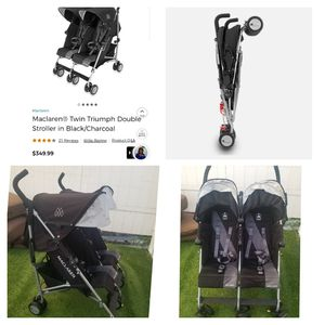 Maclaren Twin Triumph double stroller like new..each seat holds 55lbs for Sale in Bell Gardens, CA