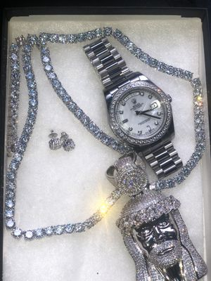 JESUS FACE TENNIS CHAIN RING EARRINGS AND WATCH SET (WATERPROOF) for Sale in New York, NY