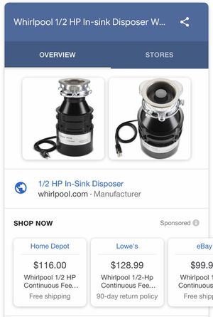 Whirlpool Garbage Disposer for Sale in Compton, CA