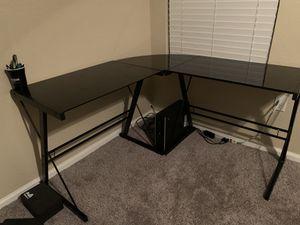 Black glass desk for Sale in Mesa, AZ