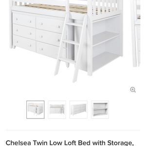 Chelsea Twin Loft Bed with 6 Drawer Dresser And Bookcase for Sale in Lakeside, CA