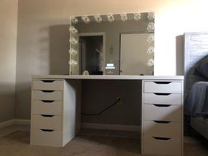 VANITY set (IKEA Linnmon/Alex desk & impression bluetooth mirror) for Sale in Dublin, OH
