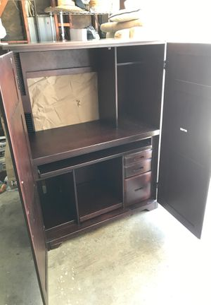 Solid wood computer desk with shelving, drawers, sliding keyboard drawer for Sale in Poway, CA