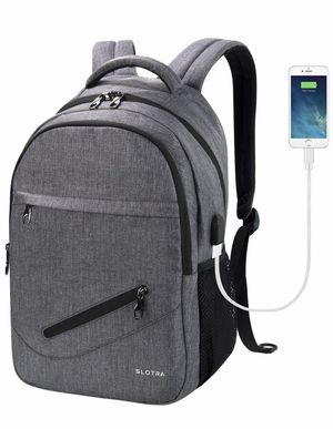 Laptop Backpack with USB Charging Port 14 15 Inch Computer Bag Water Repellent Lightweight Multi-Compartment School Backpack SLOTRA Bag Black Grey for Sale in Bristow, VA