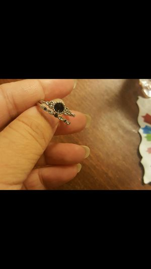 Blue sapphire silver plated wedding ring set size 7 for Sale in Moreno Valley, CA