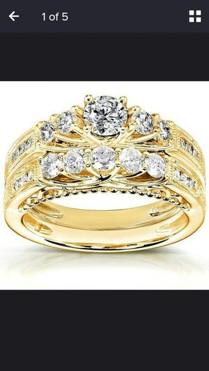 Fashion Jewelry Anniversary white Engagement white 18 k golden filled set ring size 7 for Sale in Moreno Valley, CA