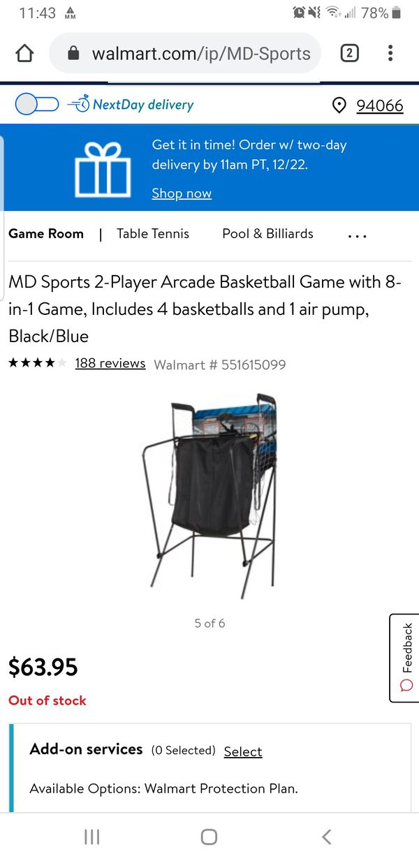 Kids Basketball goal game. NEW IN BOX. MD Sports 2-Player Arcade Basketball Game with 8-in-1 Game: