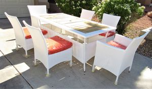 New White Wicker Outdoor Dining Set 7 Pc Patio Furniture Deck Pool for Sale in Las Vegas, NV