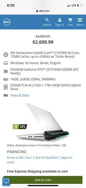 Alienware 9th generation laptop for Sale in ROXBURY CROSSING, MA