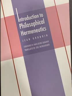 Introduction To Philosophical Hermeneutics by Jean Grondin for Sale in San Gabriel,  CA