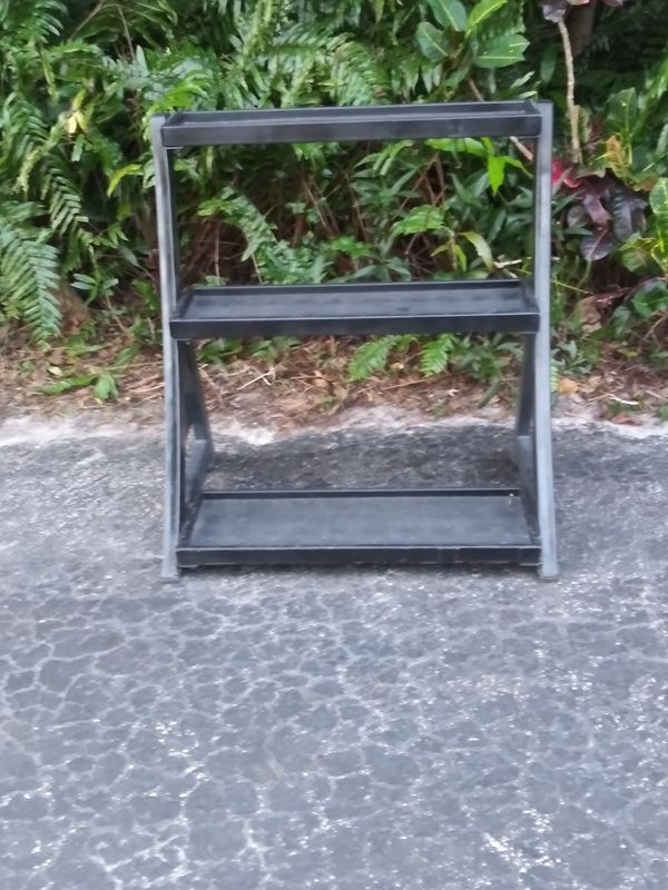 KETTLEBELL RACK : 3 TIERS/ GREAT CONDITION : 31 INCHES WIDE BY 33 INCHES HIGH ** Have kettlebells: 10s 15lb. 18lb. 25lb. 30 lbs. 35 lb. 53lb. 62s