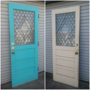 Old Vintage Wood 3 Panel Pantry Laundry Door. Leaded Glass! Great Repurpose Makeover Piece for Sale in Fort Worth, TX