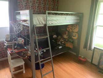 Futon/bunk bed w/ like new mattress, school desk, basketball hoop for Sale in Nashville,  TN