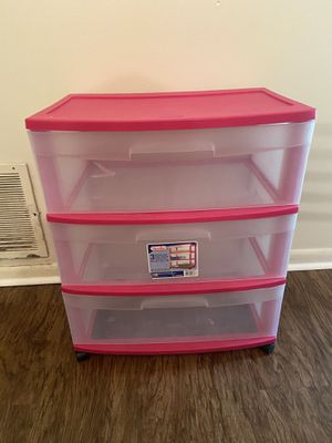 Sterilite Wide 3 Drawer Cart (Pink) for Sale in State College, PA