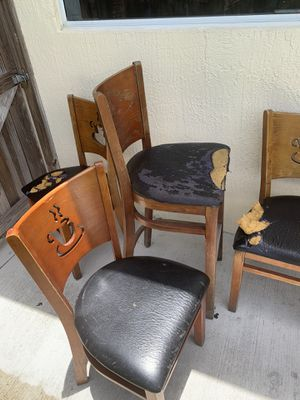 Wood chairs for restaurant. 12 chairs and 3 matching tables. for Sale in Miami, FL