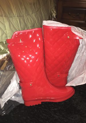Red leather rain boots for Sale in Fayetteville, NC