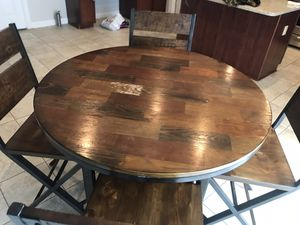 Steel Frame Wooden Table and Chairs for Sale in Woodbridge, VA