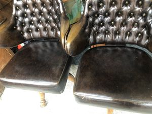 Set of antique leather tugged back Gasser chairs made in Young's Town Ohio for Sale in South Bend, IN