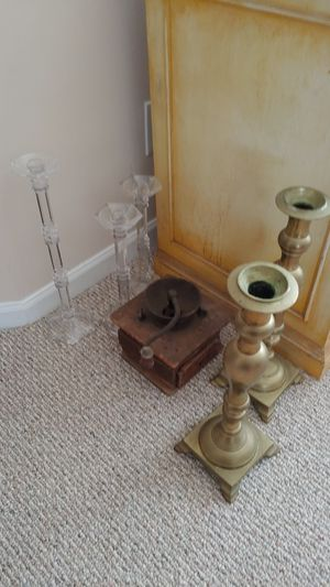 Bronze and glass Candle holders and antique coffee for Sale in Dublin, OH