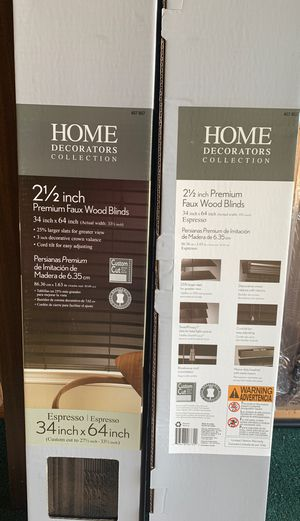 Espresso Premium Faux Wood Blinds 34 in x 64 in NEW for Sale in Buena Park, CA
