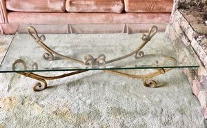 Beautifully crafted Vintage antique 60's circa gold wrought iron with glass top coffee table for Sale in Long Beach, CA