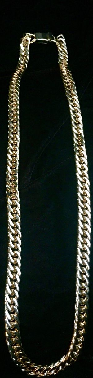 DOUBLE CUBAN LINK 18K GOLD CHAIN MADE IN ITALY for Sale in Miami Beach, FL