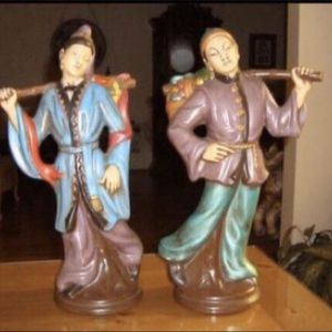 Set of 2 Large Asian- Oriental Figurines. (Man & Woman) Ceramic- 17 1/2 inches Tall -Excellent Condition! for Sale in Baldwin Park, CA