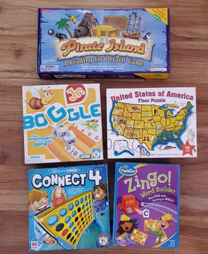 Pirate Island Reading Comprehension Board Game, United States Floor Puzzle, Zingo Game, Connect 4 Game, Boggle Jr. Game for Sale in Milpitas, CA