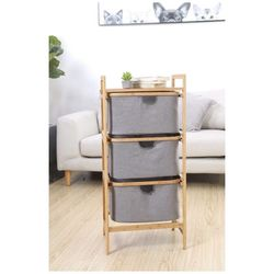 3-Drawer Bamboo Storage Shelf Sliding Detachable Rack Storage System with Laundry Hamper Cloth Fabric for Closet, Bedroom, Entryway for Sale in Chino,  CA