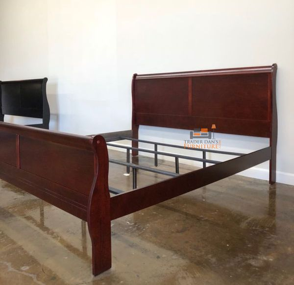 Brand New King Size Cherry Wood Sleigh Bed Frame