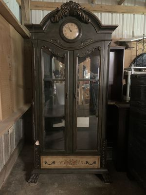Antique display cabinet with clock for Sale in Fall City, WA