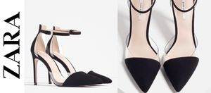 New ZARA Black Suede PVC Ankle Strap Pumps 7.5 for Sale in East Riverdale, MD