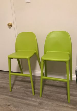 2 neon green kids children high chairs solid plastic made in Italy for Sale in City of Industry, CA