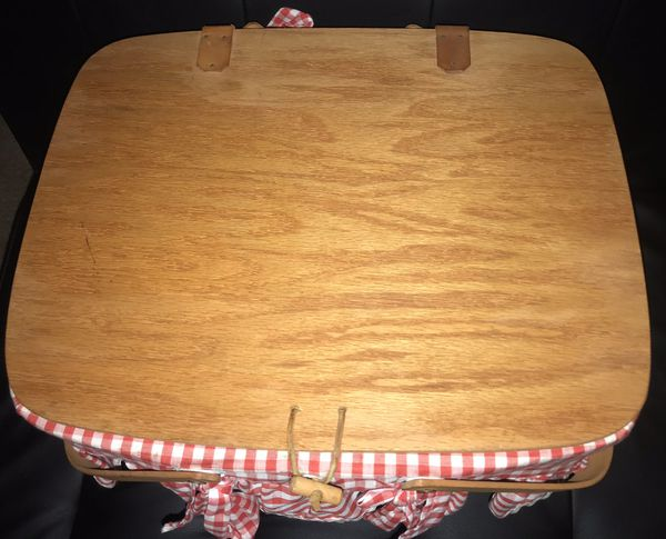 Longaberger Large wooden woven handmade picnic basket >< signed 1991 retro rare collectibles