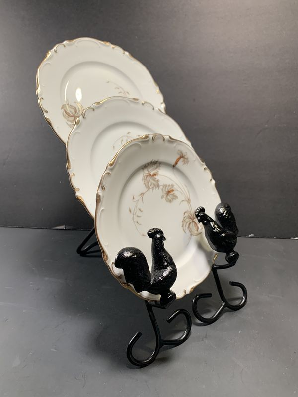Rooster Black Metallic Table/Counter 3-Plate Holder
