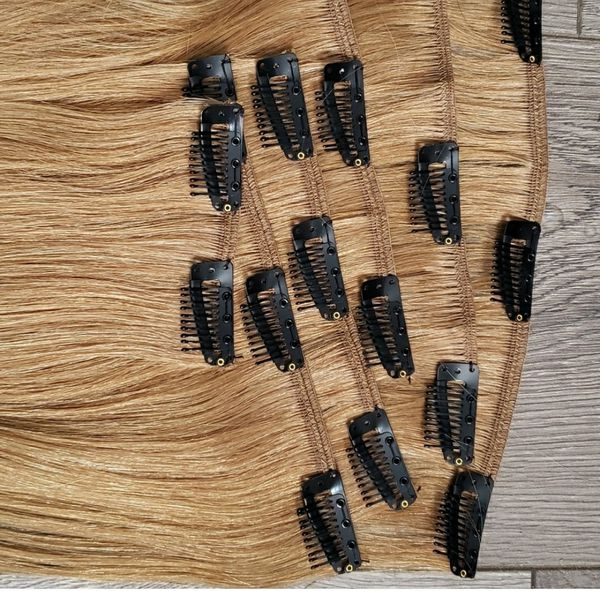 🆕️ Honey Blonde 🍯 14 inch 100% Human Hair ☆ Clip in set ☆ FAST Shipping