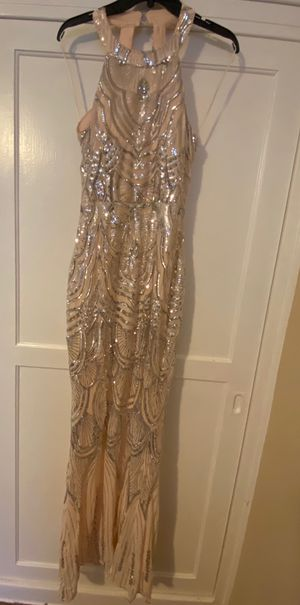 Formal dress blush with silver sequins for Sale in Burbank, CA