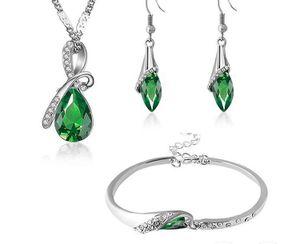 925 sterling silver cubic zirconia gemstones water drop necklace earrings bracelet jewelry sets for Sale in Stoneham, MA