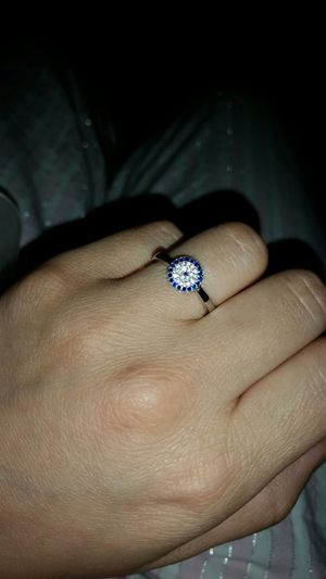 925 silver diamond and blue gemstone round cut ring for Sale in Alexandria, VA