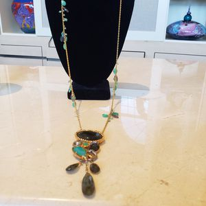 NWOT ALEXIS BITTAR LONG GOLD CHAIN SMOKY QUARTZ & GREEN STONE NECKLACE for Sale in Barrington, IL