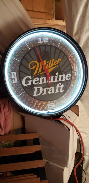 Vintage Look Genuine Miller Draft Neon Clock for Sale in Washington, DC
