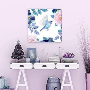 ((FREE SHIPPING)) Square canvas wall art - watercolor style painting of a bird flying towards a flower Painting like print for Sale in San Jose, CA